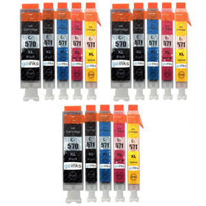 3 Go Inks Set of 5 Ink Cartridges to replace Canon PGI-570 & CLI-571 Compatible / non-OEM for PIXMA Printers (15 Pack)