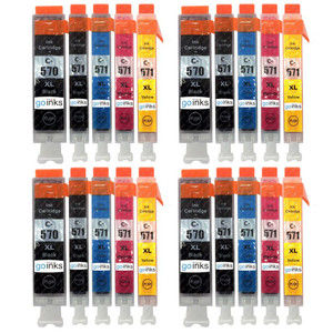 4 Go Inks Set of 5 Ink Cartridges to replace Canon PGI-570 & CLI-571 Compatible / non-OEM for PIXMA Printers (20 Pack)