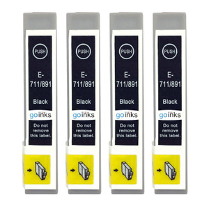 4 Go Inks Black Ink Cartridges to replace Epson T0711 Compatible / non-OEM for Epson Stylus Printers