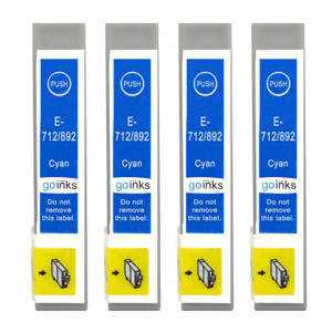 4 Go Inks Cyan Ink Cartridges to replace Epson T0712 Compatible / non-OEM for Epson Stylus Printers
