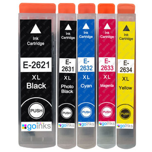 1 Go Inks Set of 5 Ink Cartridges to replace Epson T2636 (26XL Series) Compatible / non-OEM for Epson Expression Premium Printers (5 Inks)