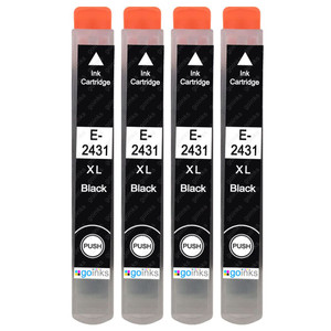 4 Go Inks Black Ink Cartridges to replace Epson T2431 (24XL Series) Compatible / non-OEM for Epson Expression Photo Printers