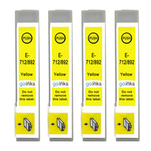 4 Go Inks Yellow Ink Cartridges to replace Epson T0714 Compatible / non-OEM for Epson Stylus Printers