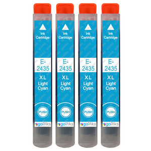 4 Go Inks Light Cyan Ink Cartridges to replace Epson T2435 (24XL Series) Compatible / non-OEM for Epson Expression Photo Printers