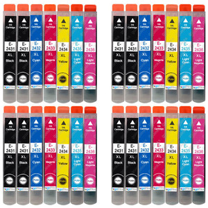 4 Go Inks Set of 6 + extra Black Ink Cartridges to replace Epson T2438+T2431 (24XL Series) Compatible / non-OEM for Epson Workforce Printers (28 Inks)