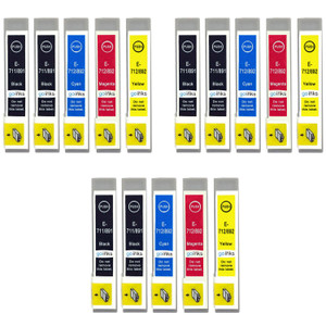 3 Go Inks Set of 4 + extra Black Ink Cartridges to replace Epson T0715+711 Compatible / non-OEM for Epson Stylus Printers (15 Inks)