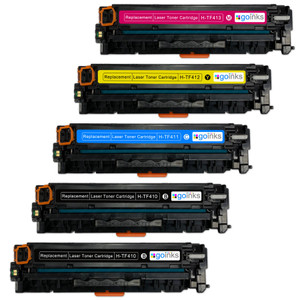 1 Go Inks XL Set of 4 + extra black Laser Toner Cartridges to replace HP CF410X, CF411X, CF412X, CF413X Compatible / non-OEM for HP Colour & Pro Laserjet Printers