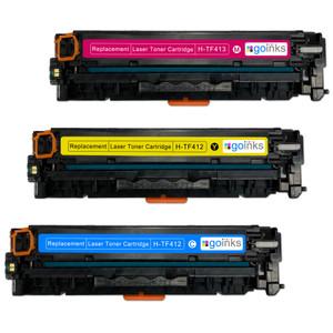 1 Go Inks XL Set of 3 C/M/Y Laser Toner Cartridges to replace HP CF411X, CF412X, CF413X  Compatible / non-OEM for HP Colour & Pro Laserjet Printers