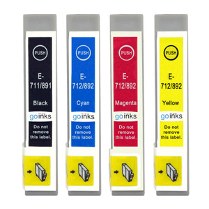 1 Go Inks Set of 4 Ink Cartridges to replace Epson T0715 Compatible / non-OEM for Epson Stylus Printers (4 Inks)