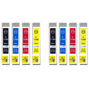 2 Go Inks Set of 4 Ink Cartridges to replace Epson T0715 Compatible / non-OEM for Epson Stylus Printers (8 Inks)