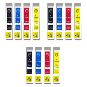 3 Go Inks Set of 4 Ink Cartridges to replace Epson T0715 Compatible / non-OEM for Epson Stylus Printers (12 Inks)