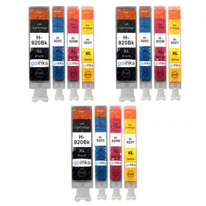 3 Go Inks Compatible Set of 4 to replace HP 920 Printer Ink Cartridge (12 Inks) - Black, Cyan,  Magenta, Yellow Compatible / non-OEM for HP Photosmart Printers