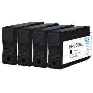 4 Go Inks Black Compatible Printer Ink Cartridges to replace HP 950Bk (XL Capacity) Compatible / non-OEM for HP Photosmart Printers