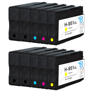 2 Go Inks Compatible Set of 4 + Extra Black to replace HP 950 & 951 Printer Ink Cartridge (10 Inks) - Black, Cyan,  Magenta, Yellow Compatible / non-OEM for HP Photosmart Printers