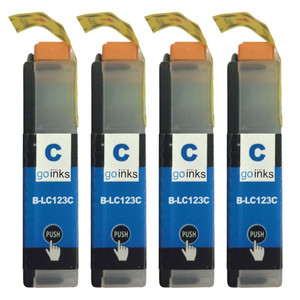 4 Go Inks Cyan Ink Cartridges to replace Brother LC123C Compatible / non-OEM for Brother DCP & MFC Printers