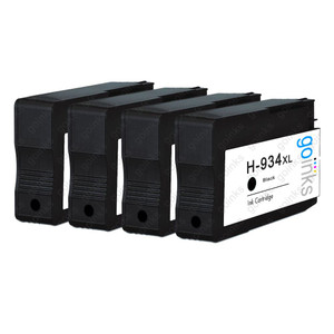 4 Go Inks Black Compatible Printer Ink Cartridges to replace HP 934Bk (XL Capacity) Compatible / non-OEM for HP Photosmart Printers