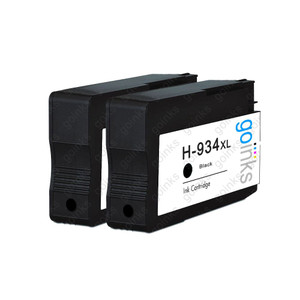 2 Go Inks Black Compatible Printer Ink Cartridges to replace HP 934Bk (XL Capacity) Compatible / non-OEM for HP Photosmart Printers