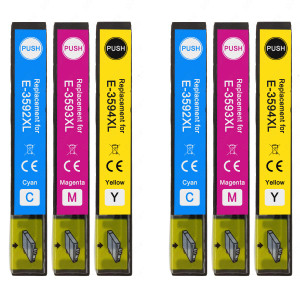 2 Go Inks Set of 3 Ink Cartridges to replace Epson T3596 (35XL Series) C/M/Y Compatible / non-OEM for Epson Expression Home Printers (6 Inks)