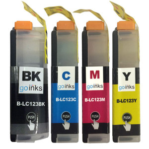 1 Go Inks Set of 4 Ink Cartridges to replace Brother LC123 Compatible / non-OEM for Brothe DCP & MFC Printers  (4 Inks)