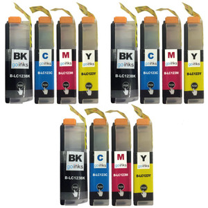 3 Go Inks Set of 4 Ink Cartridges to replace Brother LC123 Compatible / non-OEM for Brothe DCP & MFC Printers  (12 Inks)