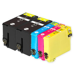 1 Go Inks Set of 4 + extra Black Ink Cartridges to replace Epson T3476+3471 (34XL Series) Compatible / non-OEM for Epson WorkForce Pro Printers (5 Inks)