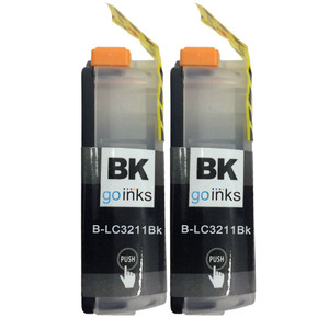 2 Go Inks Black Ink Cartridges to replace Brother LC3211BK Compatible / non-OEM for Brother DCP & MFC Printers