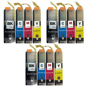 3 Go Inks Set of 4 Cartridges to replace Brother LC3211 Compatible / non-OEM for Brother DCP & MFC Printers (12 Inks)