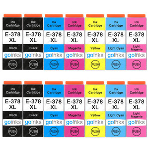 2 Go Inks Set of 6 + extra Black Ink Cartridges to replace Epson 378XL+378XLBk (Bk/C/M/Y/LC/LM) Compatible / non-OEM for Epson Expression Photo Printers (14 Inks)