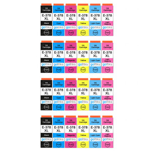 4 Go Inks Set of 6 Ink Cartridges to replace Epson 378XL (Bk/C/M/Y/LC/LM) Compatible / non-OEM for Epson Expression Photo Printers (24 Inks)