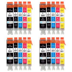 4 Go Inks Set of 5 Ink Cartridges to replace Canon PGI-580  & CLI-581 Compatible / non-OEM for PIXMA Printers (20 Pack)