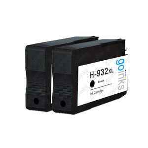 2 Go Inks Black Compatible Printer Ink Cartridges to replace HP 932Bk (XL Capacity) Compatible / non-OEM for HP Officejet Printers
