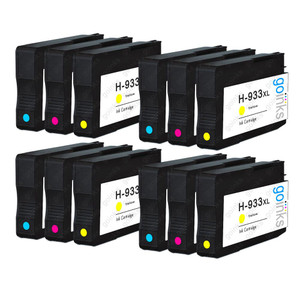 4 Go Inks Compatible C/M/Y Sets to replace HP 933 Colour Printer Ink Cartridges (12 Inks) - Cyan, Magenta, Yellow Compatible / non-OEM for HP Officejet Printers