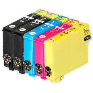 1 Go Inks Set of 4 + extra Black Ink Cartridges to replace Epson 502XL+502XLBk Compatible / non-OEM for Epson WorkForce & Expression Printers (5 Inks)