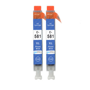 2 Go Inks Photo Blue Ink Cartridges to replace Canon CLI-581PB Compatible / non-OEM for PIXMA Printers