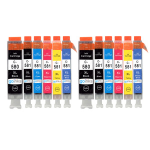 2 Go Inks Set of 6 Ink Cartridges to replace Canon PGI-580  & CLI-581 Compatible / non-OEM for PIXMA Printers (12 Pack)
