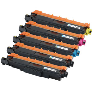 1 Go Inks Set of 4 + extra Black Laser Toner Cartridges to replace Brother TN247 (XL Capacity) Compatible / non-OEM for Brother DCP, MFC & HL Printers
