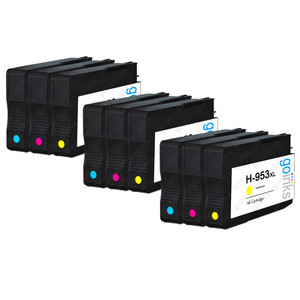 3 Go Inks Compatible C/M/Y Sets to replace HP 953 Colour Printer Ink Cartridges (9 Inks) - Cyan, Magenta, Yellow Compatible / non-OEM for HP Photosmart Printers