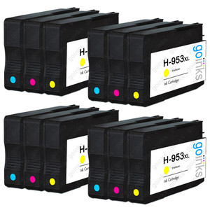 4 Go Inks Compatible C/M/Y Sets to replace HP 953 Colour Printer Ink Cartridges (12 Inks) - Cyan, Magenta, Yellow Compatible / non-OEM for HP Photosmart Printers