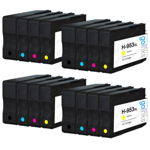 4 Go Inks Compatible Set of 4 to replace HP 953 Printer Ink Cartridge (16 Inks) - Black, Cyan,  Magenta, Yellow Compatible / non-OEM for HP Photosmart Printers