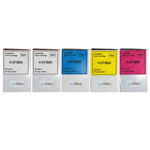 1 Go Inks Set of 4 + extra black Laser Toner Cartridges to replace HP CF380A / CF381A / CF382A / CF383 Compatible / non-OEM for HP Colour & Pro Laserjet Printers