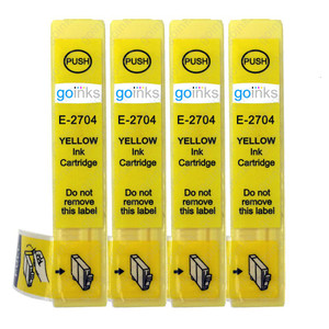 4 Go Inks Yellow Ink Cartridges to replace Epson T2704 (27 Series) Compatible / non-OEM for Epson Workforce Printers