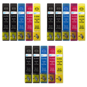 3 Go Inks Set of 4 + extra Black Ink Cartridges to replace Epson T2705 + T2701 (27 Series) Compatible / non-OEM for Epson Workforce Printers (15 Inks)