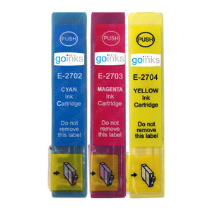 1 Go Inks Set of 3 Ink Cartridges to replace Epson T2705 (27 Series) C/M/Y Compatible / non-OEM for Epson Workforce Printers (3 Inks)