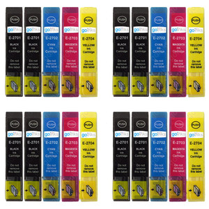 4 Go Inks Set of 4 + extra Black Ink Cartridges to replace Epson T2705 + T2701 (27 Series) Compatible / non-OEM for Epson Workforce Printers (20 Inks)