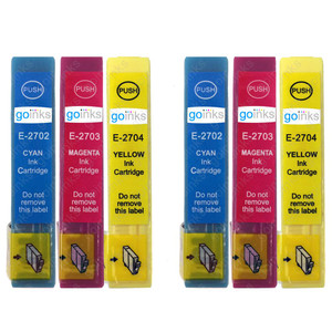 2 Go Inks Set of 3 Ink Cartridges to replace Epson T2705 (27 Series) C/M/Y Compatible / non-OEM for Epson Workforce Printers (6 Inks)