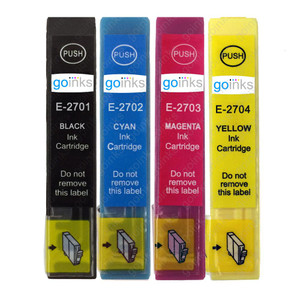1 Go Inks Set of 4 Ink Cartridges to replace Epson T2705 (27 Series) Compatible / non-OEM for Epson Workforce Printers (4 Inks)