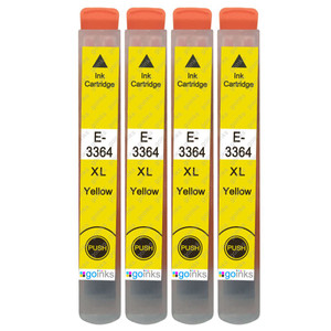 4 Go Inks Yellow Ink Cartridges to replace Epson T3364 (33XL Series) Compatible / non-OEM for Epson Expression Premium Printers