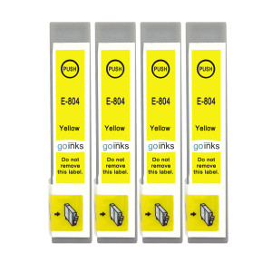4 Go Inks Yellow Ink Cartridges to replace Epson T0804 Compatible / non-OEM for Epson Stylus Photo Printers