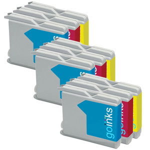 3 Go Inks Set of 3 C/M/Y Cartridges to replace Brother LC970 & LC1000 Compatible / non-OEM for Brother DCP, MFC, FAX Printers (9 Inks)