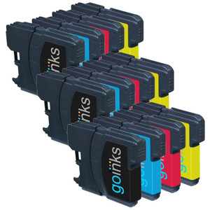 3 Go Inks Set of 4 Cartridges to replace Brother LC980 & LC1100 Compatible / non-OEM for Brother DCP & MFC Printers (12 Inks)